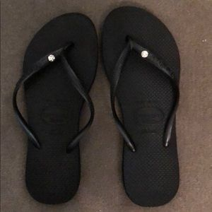 Havainas slim black size 39/40